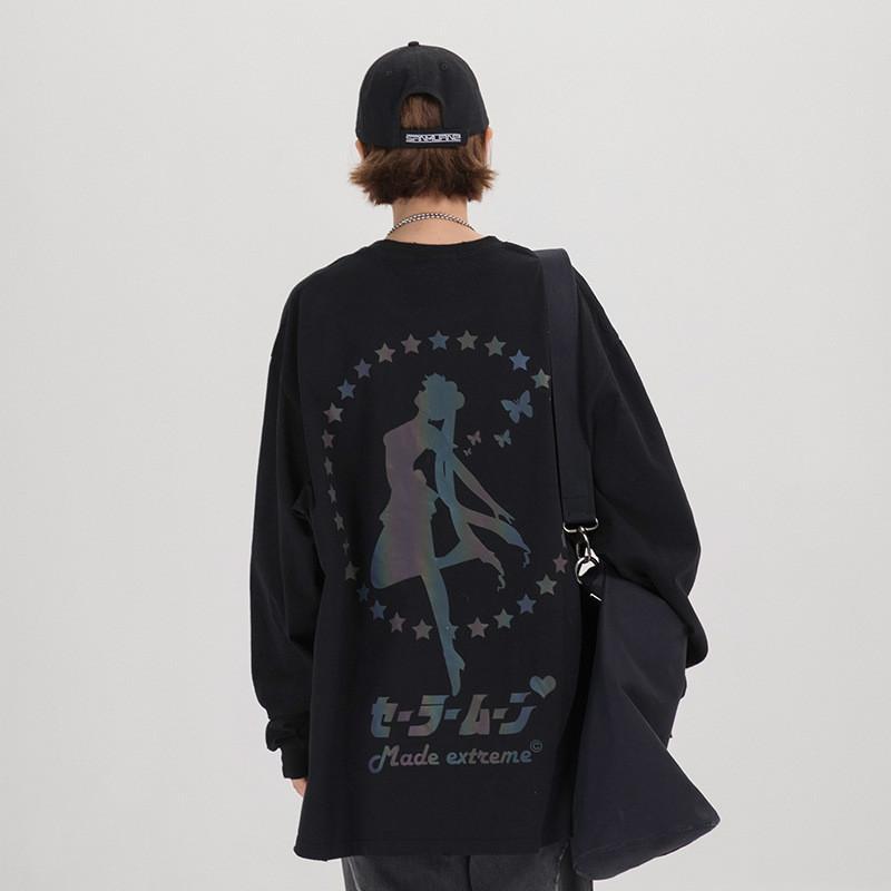 2020 yüksek sokak tasarımcı bahar ve yaz orijinal Guochao Sailor yansıtıcı baskı gevşek tişört severler uzun kollu