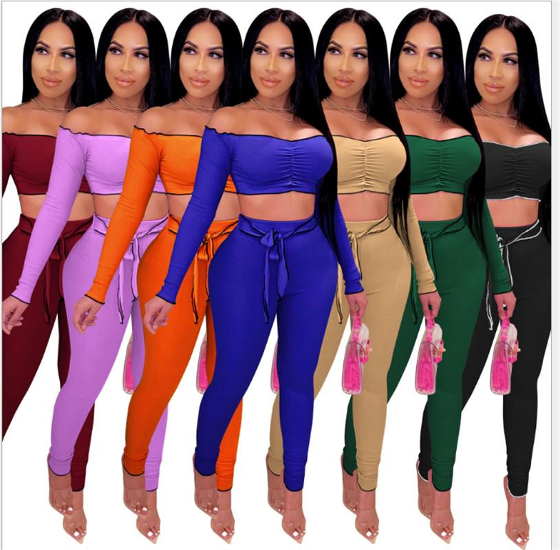 2020 New Arrivals Autumn Solid Slash Neck T Shirt + Tight Pants High Quality Sash High Waist Trousers 2PCS Party Casual Female Best Selling