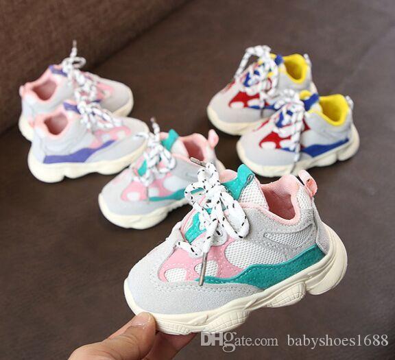 Autumn Baby Girl Boy Criança infantil Casual sapatas Running inferior macia confortável cor da costura Crianças Sneaker