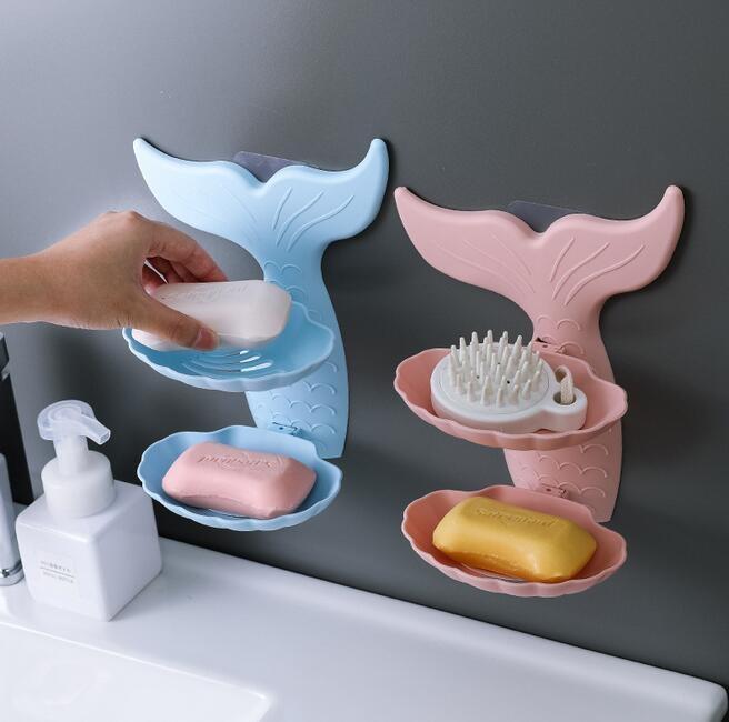Sereia Forma Duplo Layers Banho sabão Titular Box Banho otário Soap Drenagem Saboneteira Prateleira