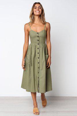 Кнопка Полосатого печати Хлопок белье Casual Летнее платье Sexy Спагетти ремень V-образный вырез плеча женщины Midi платье Vestidos