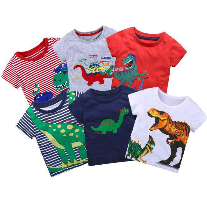 Moda estate ragazzi t shirt infantile bambini ragazze magliette dinosauri manica corta casual casual carino top tee toddler