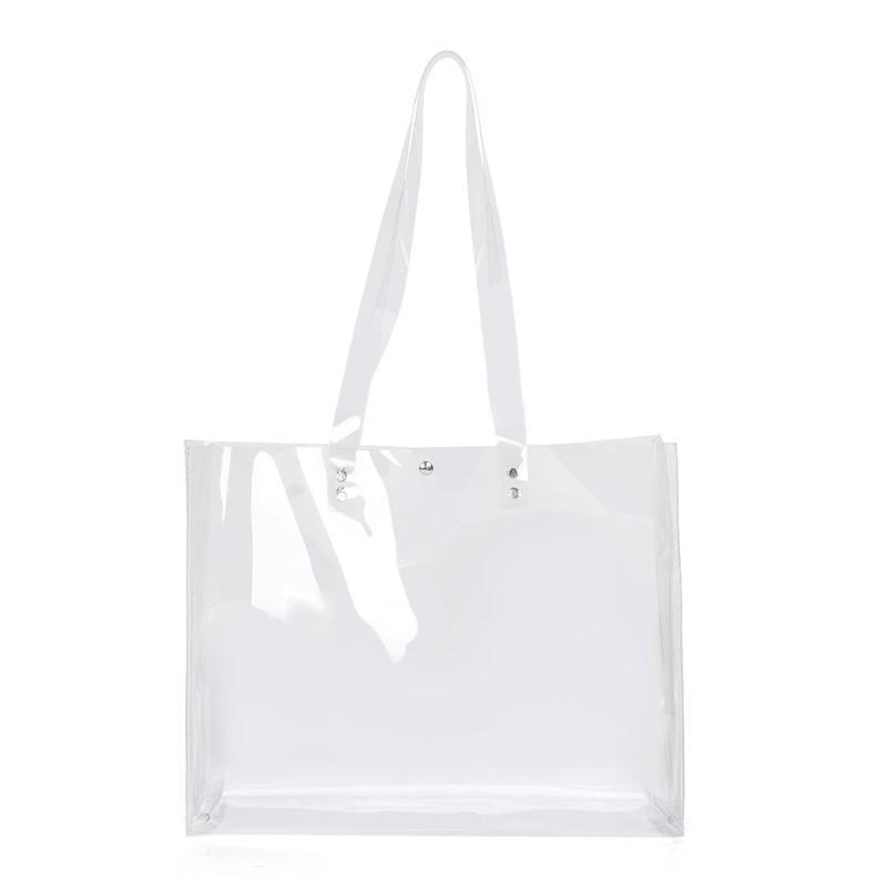 Las mujeres de PVC transparente totalizadores bolsos de hombro Claro compras bolsos de la playa femenina de la tapa del bolso Bolsas Femenina Mujer Sac