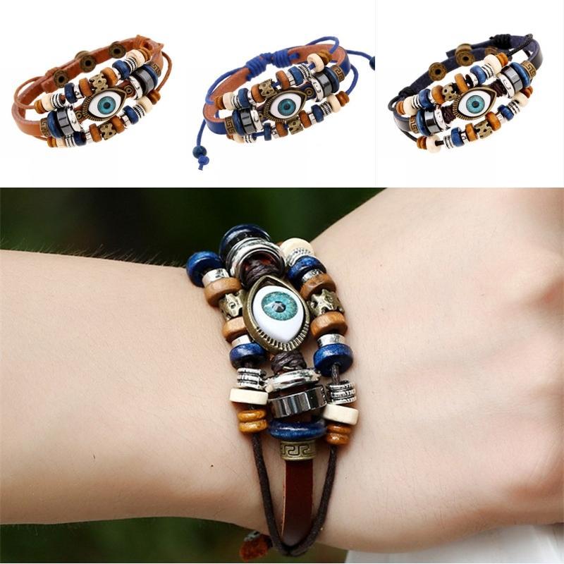 Free DHL Vintage Turkish Evil Eyes Bracelet Multilayer Adjustable Beaded Handmade Bangle Ethnic Style Bracelets Jewelry 14 Styles B907S F
