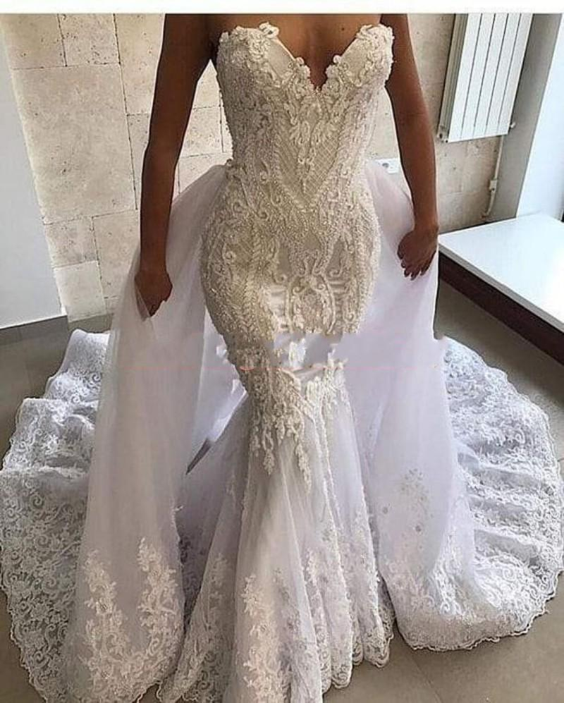 Exquisite Lace Beads Mermaid Wedding Dresses With Overskirt Detachable Skirt Vestido de novia Plus Size African Bridal Gown Bride Dress