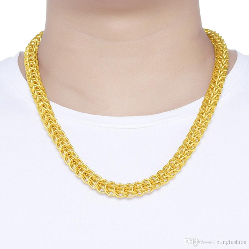 Hip Hop Thick Chain 18k Yellow Gold Filled Cool Mens Necklace Heavy Chain Gift Chunky Jewelry 60cm Long