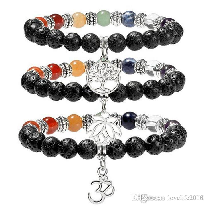Neue 7 Chakra Lava-Rock Bead Armband Baum des Lebens / Lotus Charm Armbänder Heilung Balance Perlen Naturstein Yogo Schmuck gutes Geschenk A355