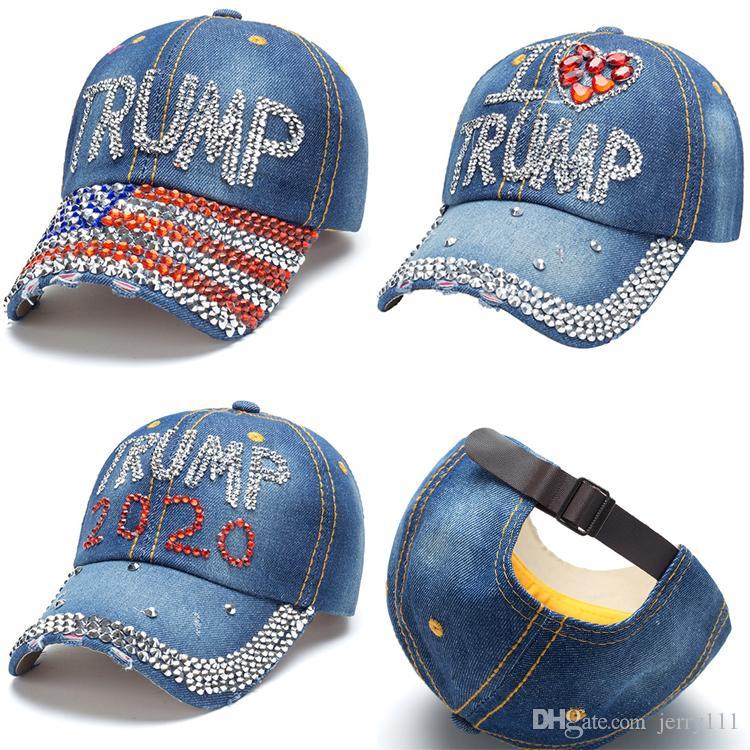 3 стиль Дональда Трампа Джинсовая бейсболка на открытом воздухе Я люблю Trump 2020 Rhinestone шляпа спортивный шлем полосатый флаг США Cap Snapback JJ100