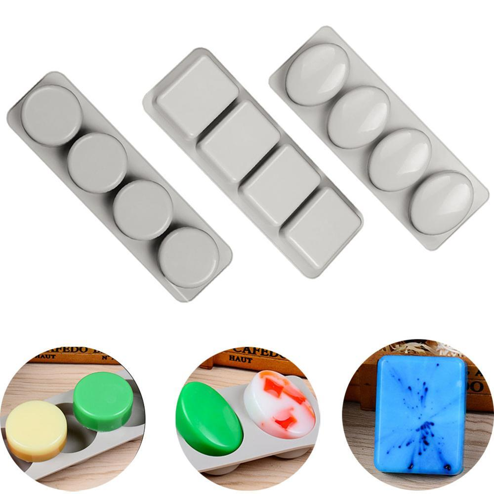 Silicone Soap Molds 4 Hole Square Round Crafts Mould Cake Decorating Handmade DIY Soap Making Tools Supplies zeepmallen #3F