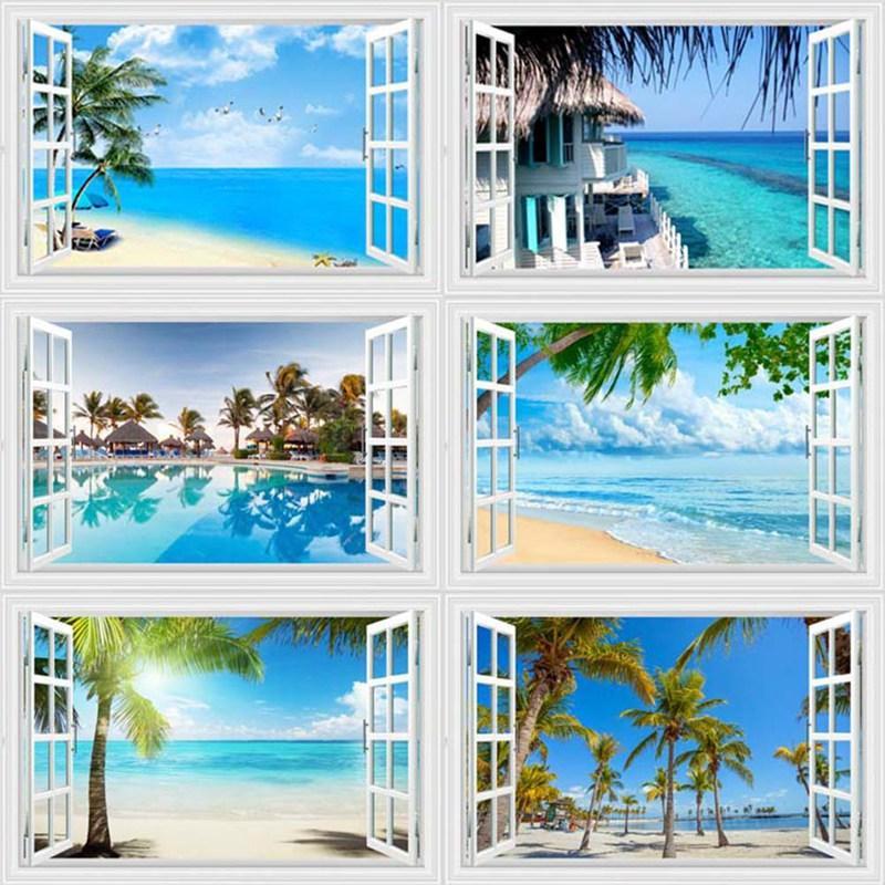 Adesivo Summer Beach Coconut Tree 3D Window View adesivo spiaggia per pareti smontabili della parete per soggiorno Cucina poste