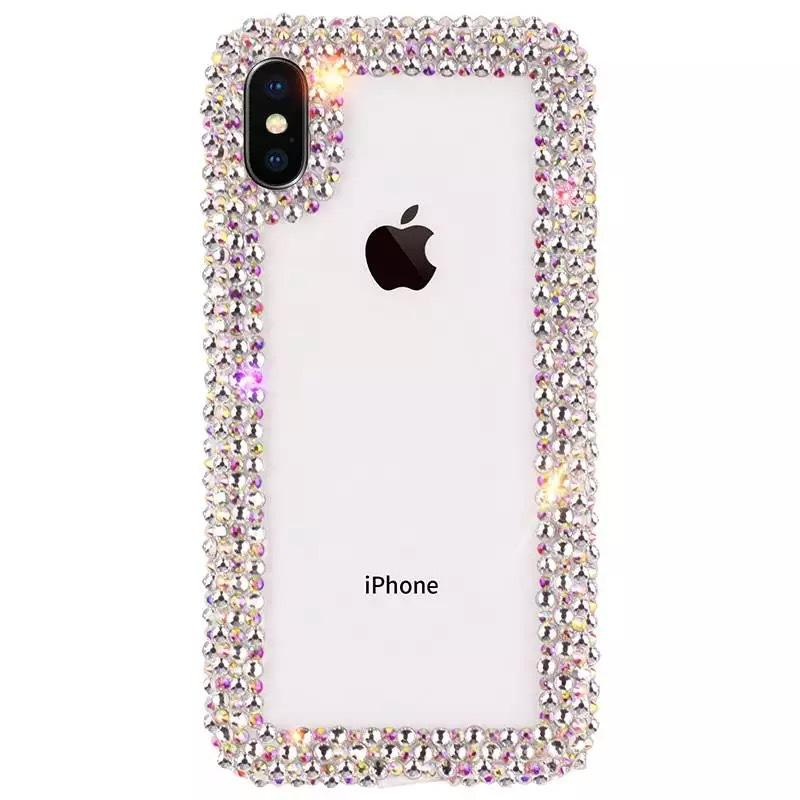 Los casos de diamantes de lujo del teléfono del diseñador de la cubierta para el iPhone Coque 11 Pro Max X MAX Xr 6 7 8 más la caja de la caja del claro del Rhinestone del brillo de teléfono