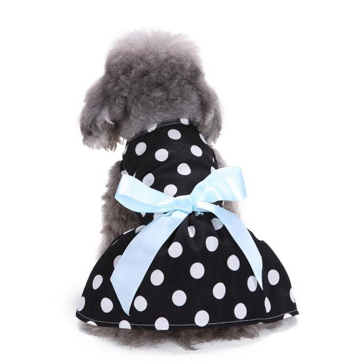 2019 Cute Polka Dot Ribbon Sweety Princess Dress Dog Dress Clothes Teddy Puppy Dog Shirt Pet Wedding Dresses Sundress for Small Dog Skirt