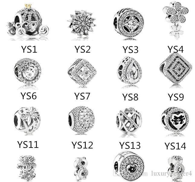 s925 Sterling Silver talão Fits Pandora Pulseira de jóias make abóbora cristal Dangle Beads encantos para Snake Europeia Cadeia Moda 2019