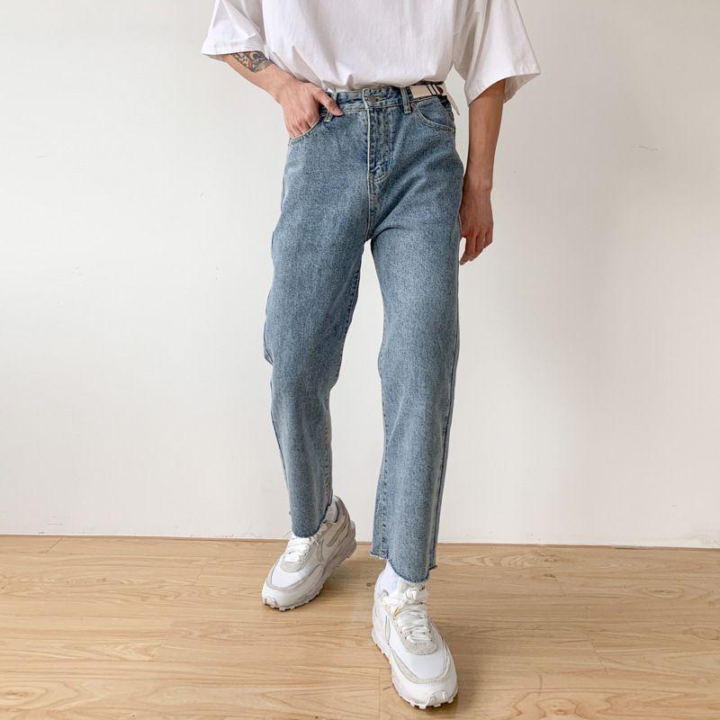 Мужские джинсы мужские Япония Корея уличная одежда хип-хоп старинные моды унисекс пастдички мужчины разбитые подол повседневная прямая длина лодыжки джинсовые штаны