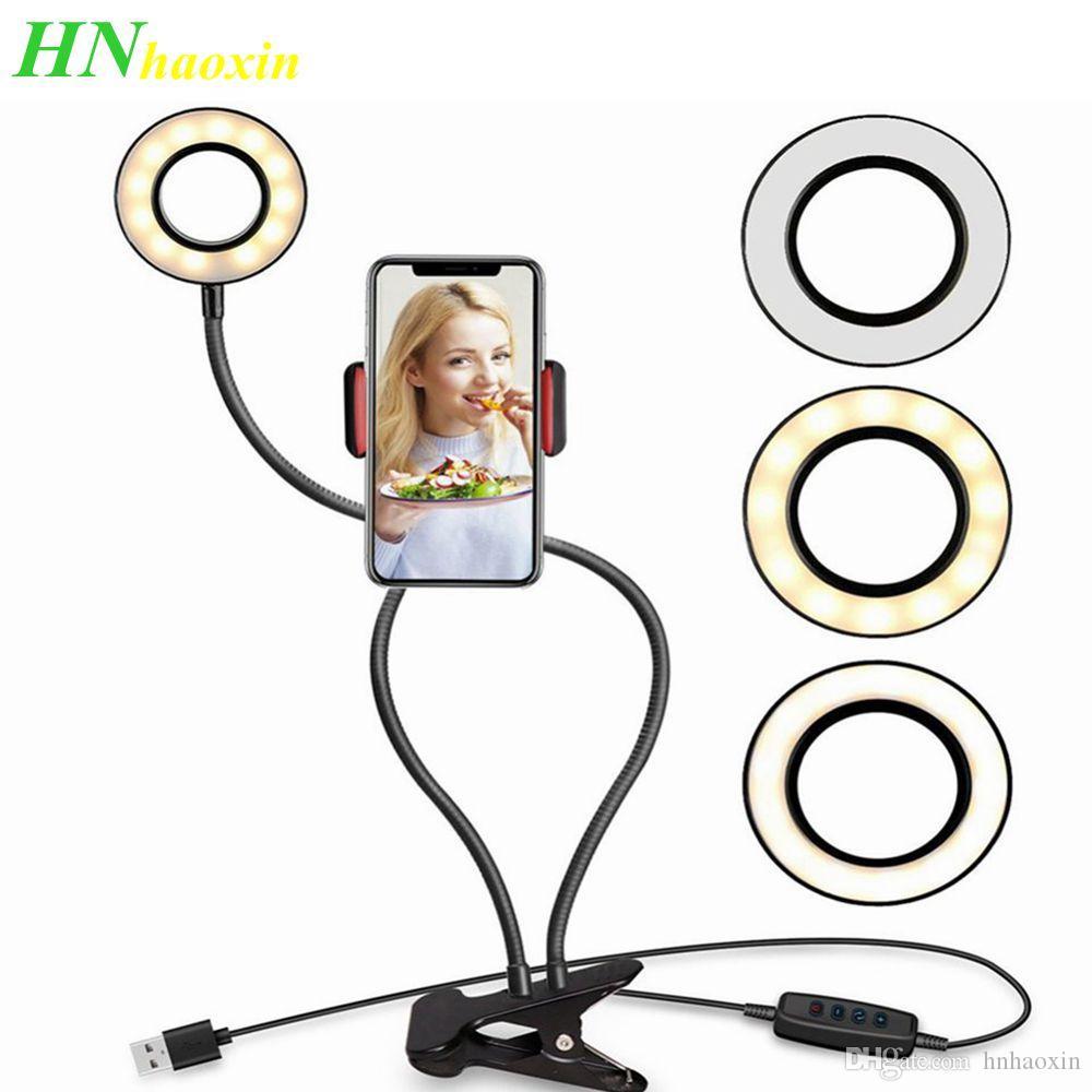 HaoXin استوديو الصور صورة شخصية LED حلقة الضوء مع الهاتف الخليوي الجوال حامل ليوتيوب لايف ستريم ماكياج الكاميرا مصباح آيفون الروبوت