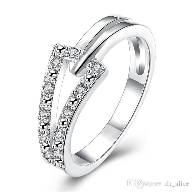 Free shipping Epacket DHL Plated sterling silver Inlay two-line ring DASR128 US size 8;women's 925 silver plate With Side Stones Rings