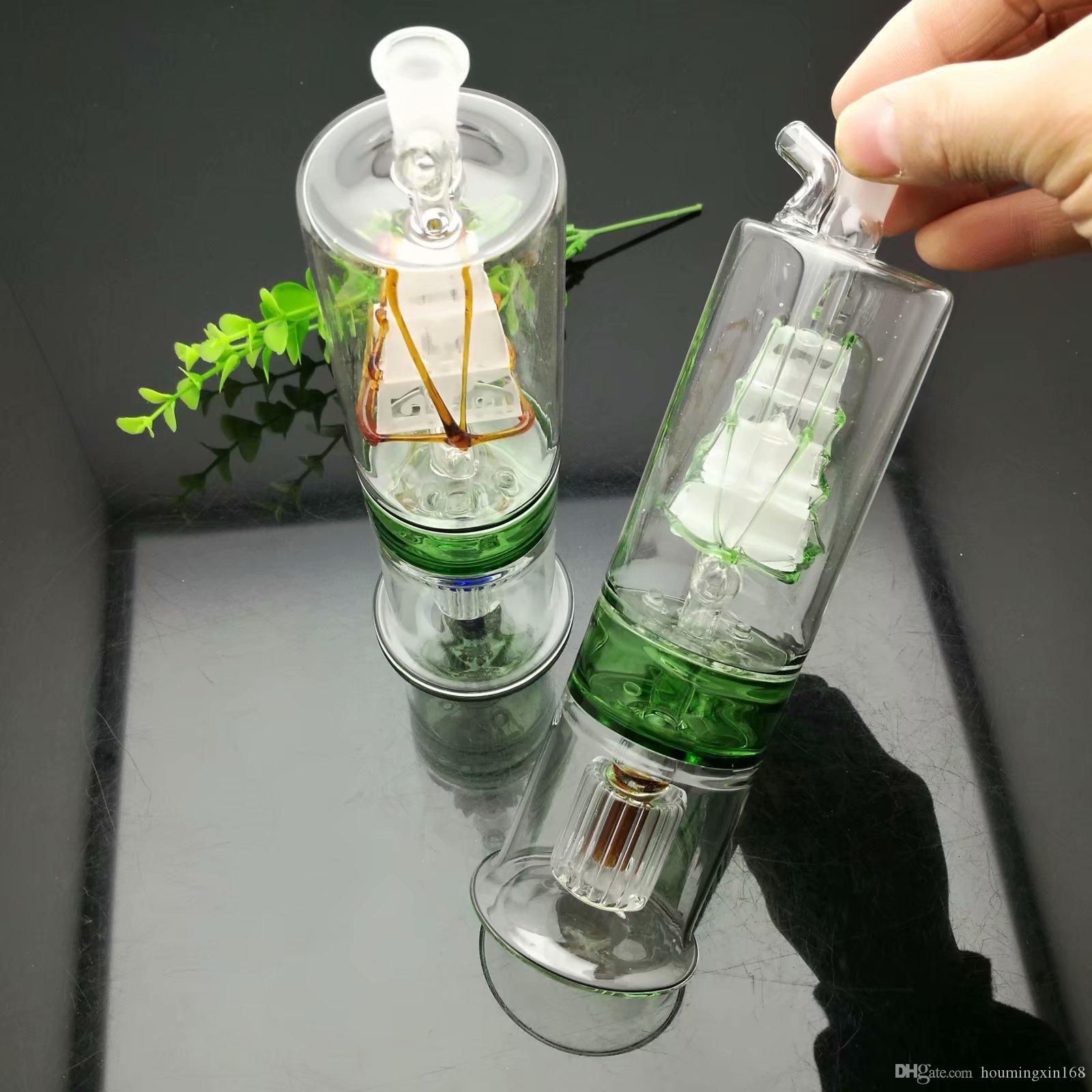 Três camadas chaleira partição mudo filtro veleiro vidro bongs de vidro grosso queimador de óleo tubulações de água de vidro plataformas petrolíferas fumadores Frete grátis