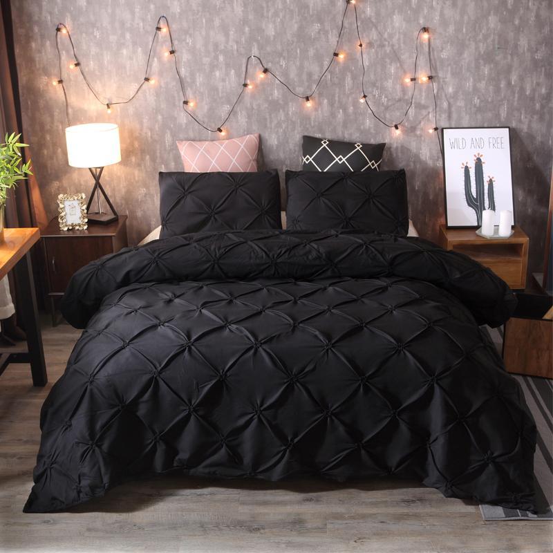 Bedding Sets New  3pcs Black 4 Size Bed Sheet Duvet Cover Sets Gift Duvet Cover Polyester Fiber Home Hotel