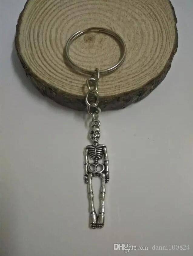Moda jóias tibetano silverHalloween crânio anel de corrente / medicina esqueleto charme Keychain- chave pingente DIY Fit Keychain A218