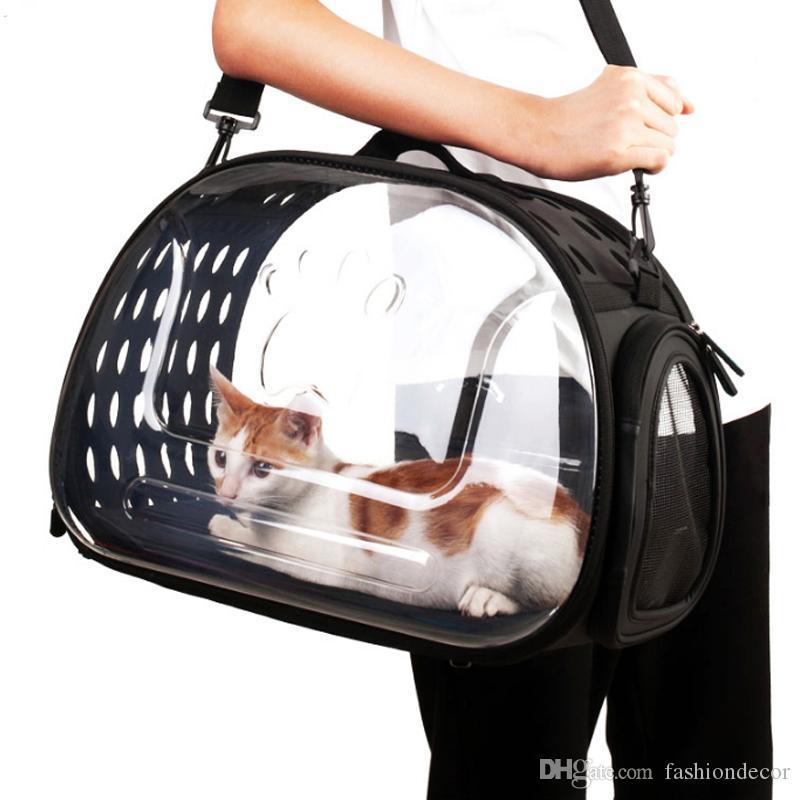 Cat Box Caixa Transparente Cat Folding portador Outdoor Travel Bag para cães pequenos Filhote de gato Limpar carregando caixa Visible