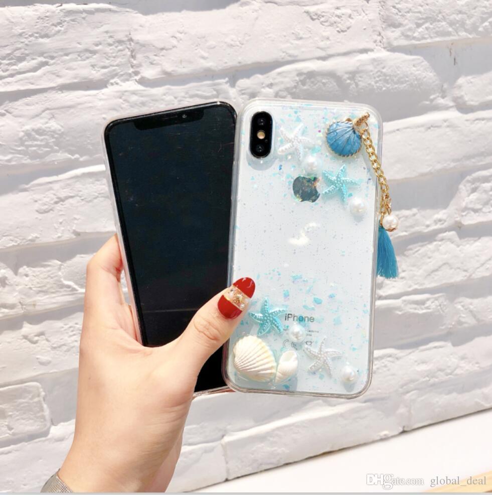 Caso Della Copertura Trasparente Posteriore Alla Moda Di Lavoro Manuale 3D Conch Shell Starfish Cancella Telefono Shell Nappa Seashell IPhone 6 7 8 ...