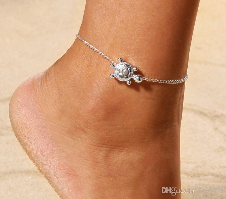 Semplice piccola tartaruga squisita moda calzature caviglia catena