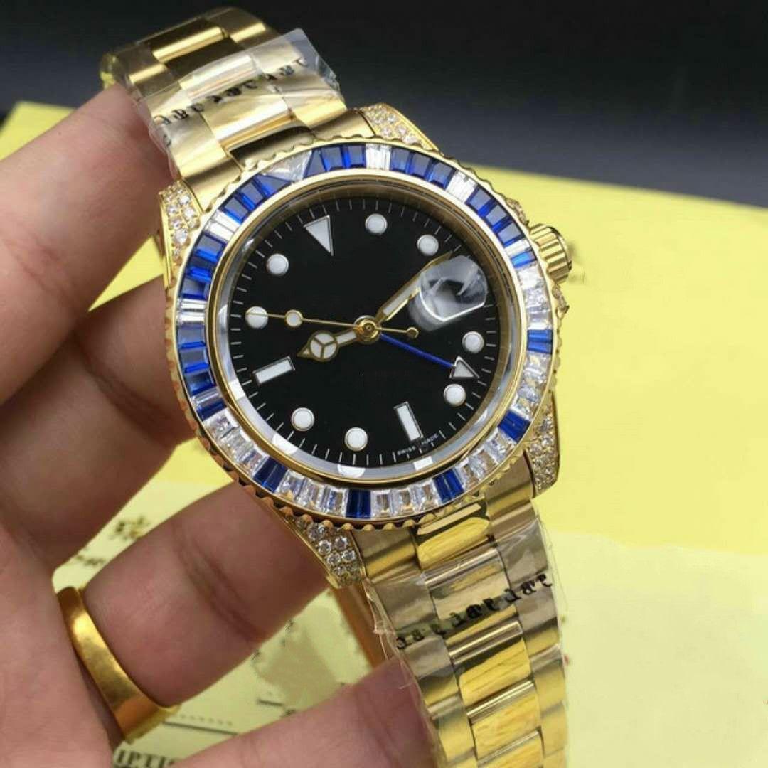 2019Designer montre les hommes de la 40mm GMT 116759 diamant incrustée acier inoxydable watch hommes mécanique automatique de luxe lumineux imperméable à l'eau