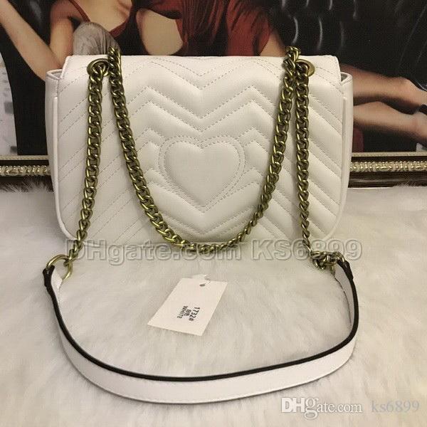 Nueva Llegada Bolsos de Las Mujeres Diseñador Famoso Bolso de Hombro de La Vendimia Satchel Bag Acolchado Corazón Cadena de Cuero Crossbody Bolsa Bolsos # 1732677