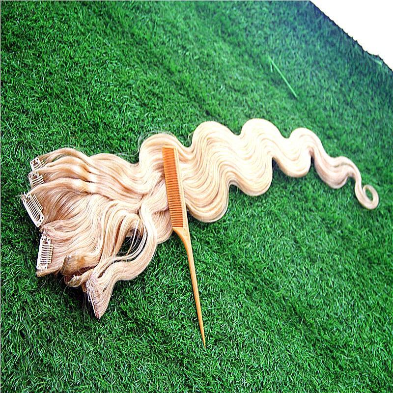 Puer del color de la onda del cuerpo 100% clip en extensiones del pelo humano 8-36 Inchs brasileña Remy 7pcs del pelo / Set 100G