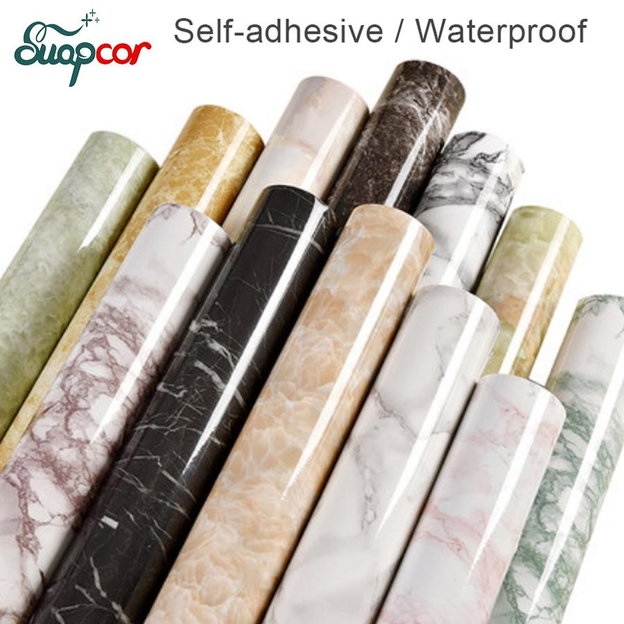 3m /5m Marble Decorative Film Self Adhesive Pvc Wallpaper Kitchen Modern Contact Paper For Bathroom Waterproof Wall Stickers Q190601