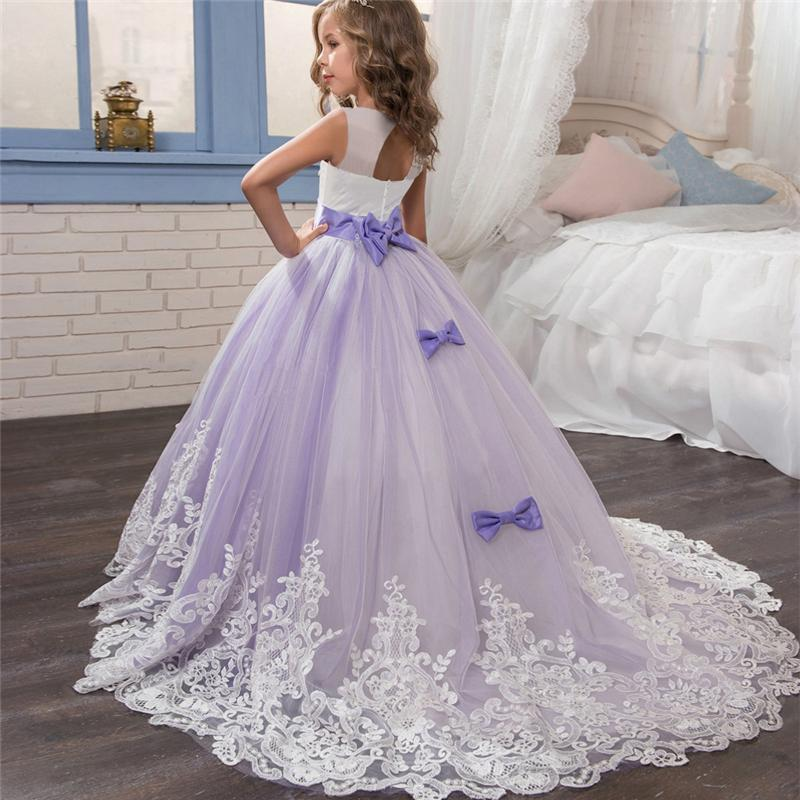 Elegant Princess Dress For Girls Wedding Purple Tulle Lace Long Girl Dress Party Pageant Bridesmaids Formal Gown For Teen Girls MX190725