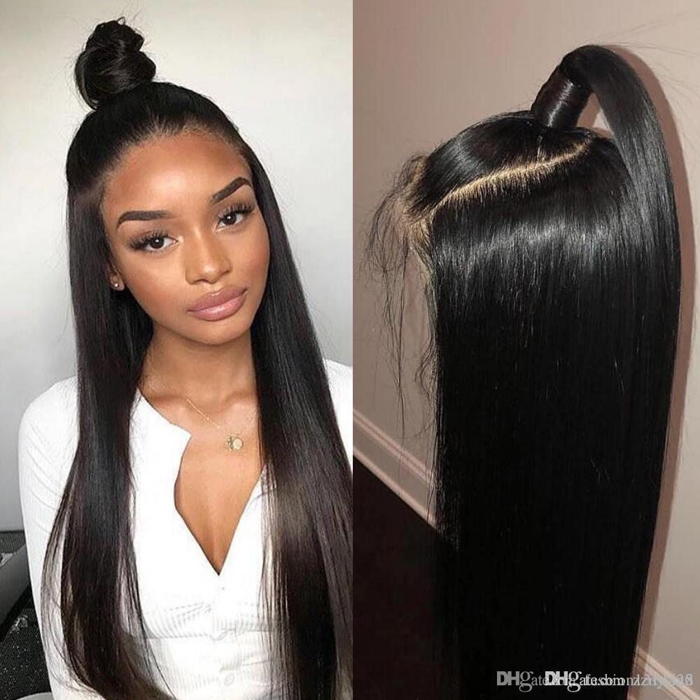 360 Lace Frontal Wig Pre Plucked With Baby Hair Remy 360 Lace Frontal Human Hair Wig Brazilian Straight Hair Bob Bang Wig lkij258