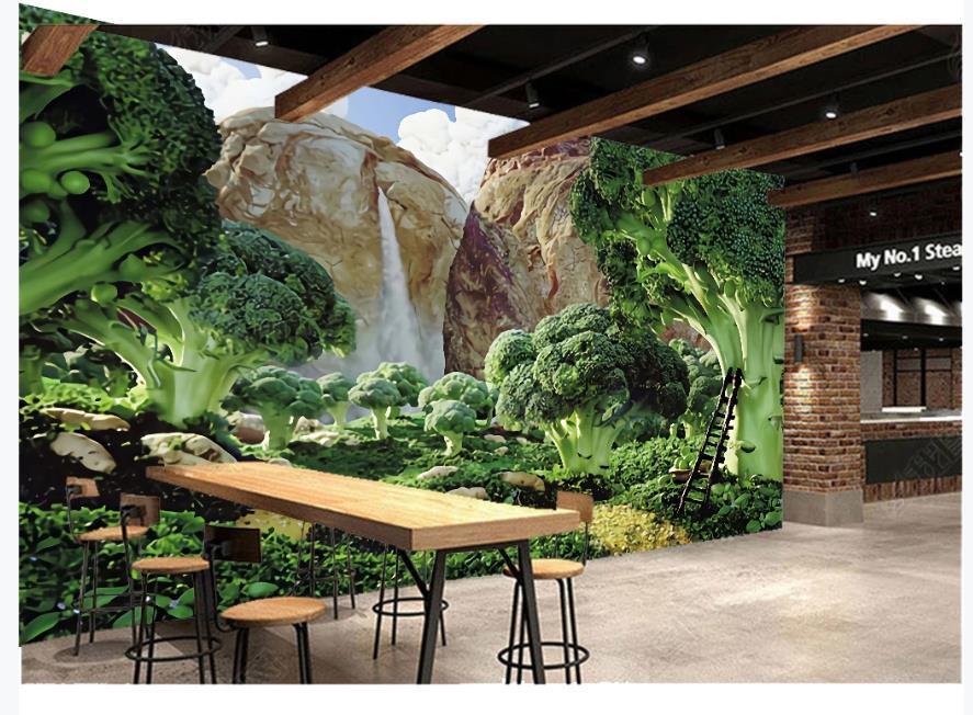 Handgemalte grüne frische Garten Gemüse Tapeten restaurant Supermarkt Obst Tapeten hintergrund Wand