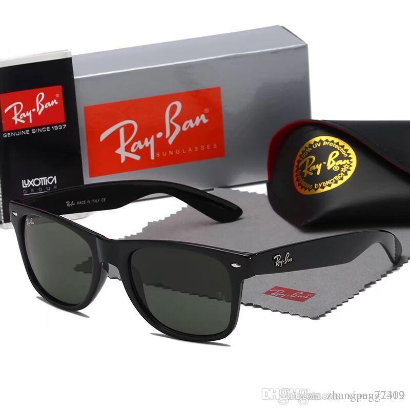 높은 품질 클래식 파일럿 선글라스 명품 브랜드 남성 여성 태양 안경 안경 골드 메탈 그린 55mm의 60mm 유리 렌즈 브라운