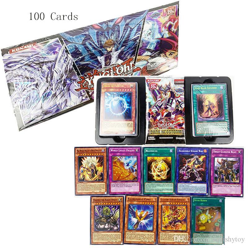 kutu Karton Yugioh Oyun Kartları Japonya Boy Kız Yu-Gi-Oh Kartları Koleksiyon For Fun Toy ile 100pcs Japonya Yu Gi Oh Oyun Oynama Kartları