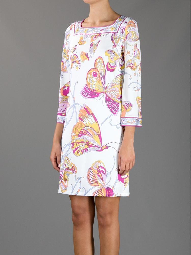 Damen berühmte italienische Marken weißer Schmetterling Blume Druck-Quadrat-Kragen 3/4 Arm Jersey Seidenkleid lose beiläufiges Kleid, XXL