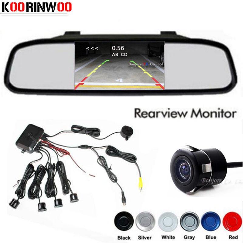 Koorinwoo ثنائي النواة cpu 4 مجسات وقوف السيارات مرآة مراقب tft عكس كاميرا الرؤية الخلفية مساعدة احتياطية نظام إنذار الرادار
