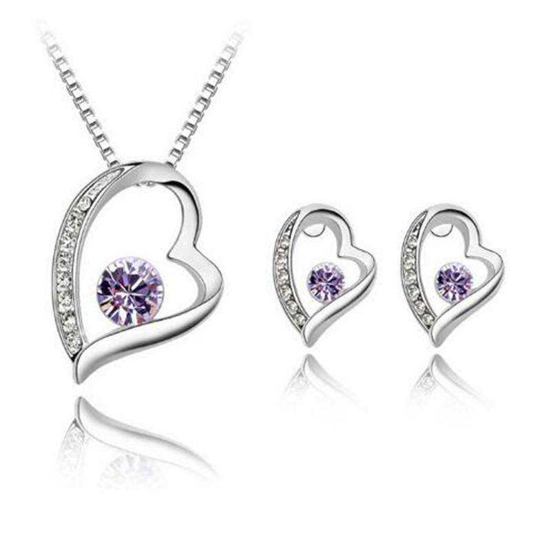 Austria Crystal Women Pendant Necklace Jewelry Hearts Set 925 Silver Earring Crystal Pendant Necklace Jewelry Fit Wedding Christmas Gift
