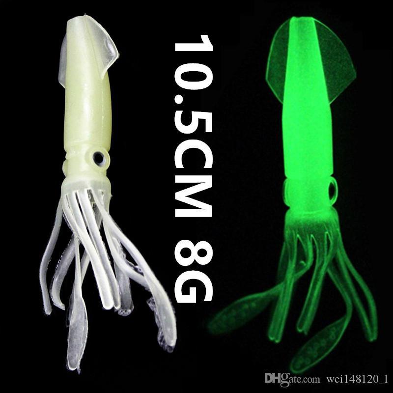 10PCS 10.5 cm 발 8g 발광 오징어 실리콘 낚시 미끼 부드러운 미끼 미끼 낚시 태클 g-004