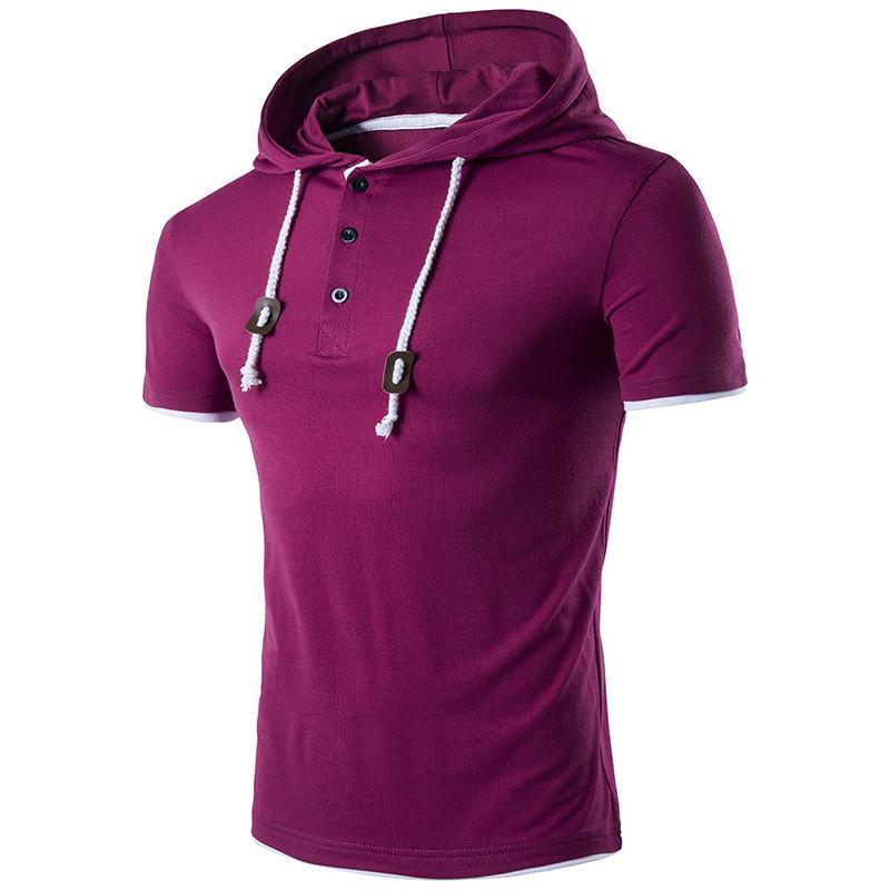 Artı Boyut Erkek Tasarımcı tişörtleri Moda Katı Renk Kapşonlu Kısa Kollu T-shirt Casual Erkek Yaz Tops