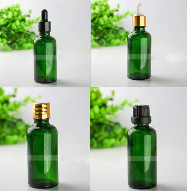 Empty Glass 50Ml Dropper Bottle Green Round Bottles with Gold Black Cap for E Cigarette Juice Liquid Perfume Essential Oil 440Pcs