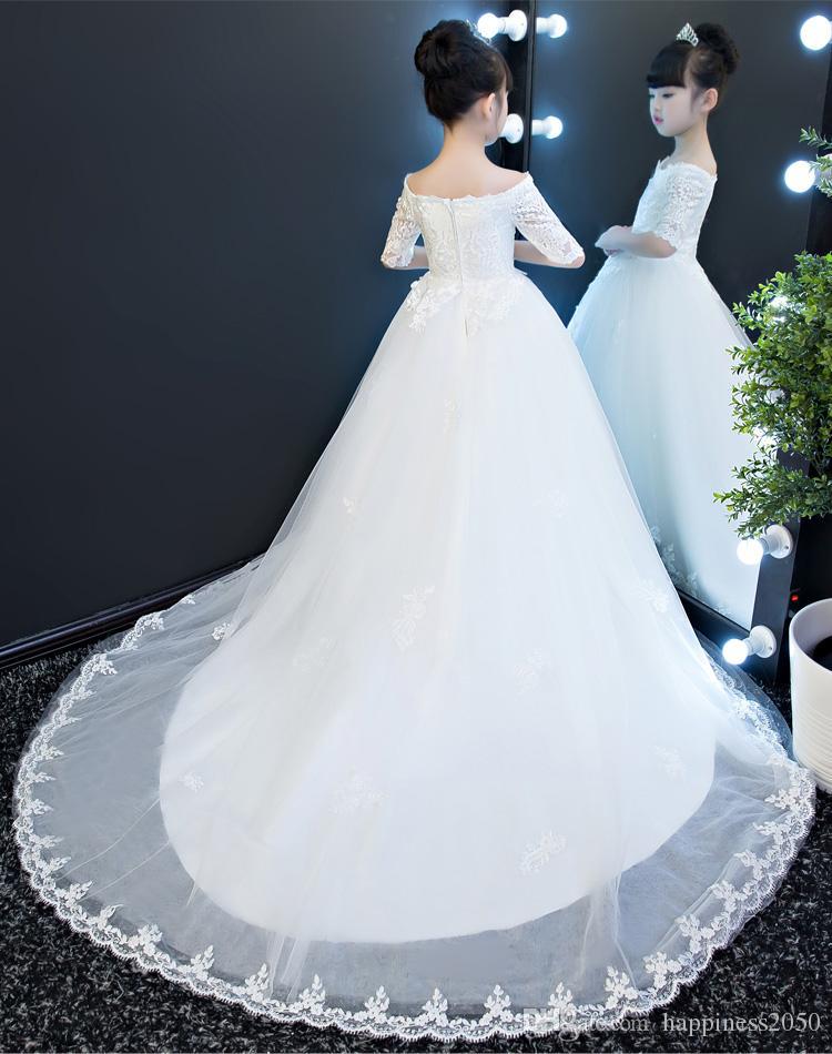 Beau Blanc Bateau Manches Pageant Applique Fille Robes fille fleur Robes de soirée princesse robes jupe enfant Custom Made 2-14 H320581