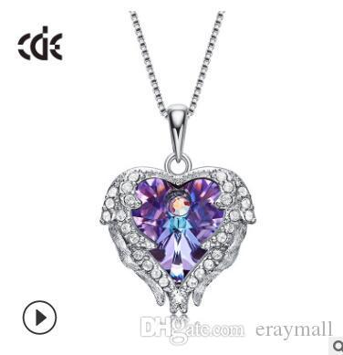 S 925 corazón del océano collar coreano de lujo forma de corazón de cristal azul con amantes encantos collares pendientes para las mujeres joyería titánica 558