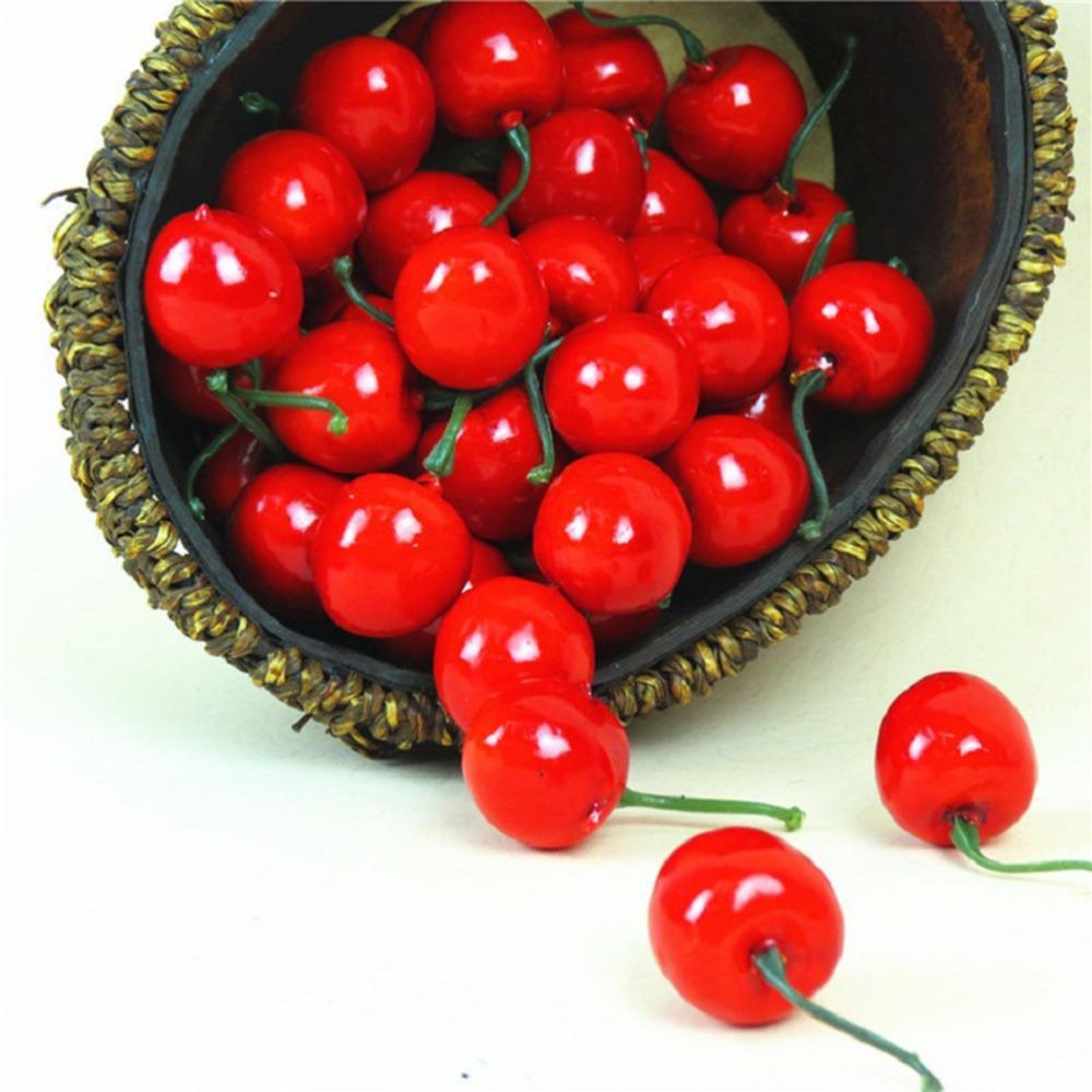 10 / 20pcs artificial decoración de la boda de cereza fruta de la simulación de espuma falsa baya puntales de bricolaje cortar y pegar de acceso falsa flor @ 4