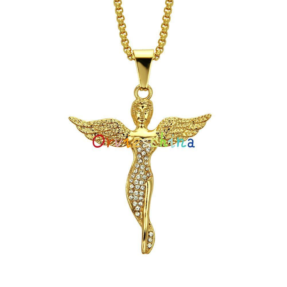 2020 дизайнер Европейский и американский трансграничный хип-хоп богиня Алмаз кулон ожерелье мода ангел ювелирные изделия