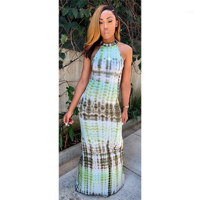 BODYCON Elbise İçin Kadın Çiçek Straplez Uzun Kadınlar Elbiseler Yaz Halter Kolsuz Kalem Elbise Sıcak Baskı