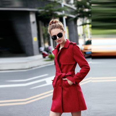 2018 جديد إمرأة مركب من جلد الغزال سترة مع حزام أزياء السيدات بلون ضئيلة جلد الأيل الصوف الإناث عارضة معطف الصوف السميك