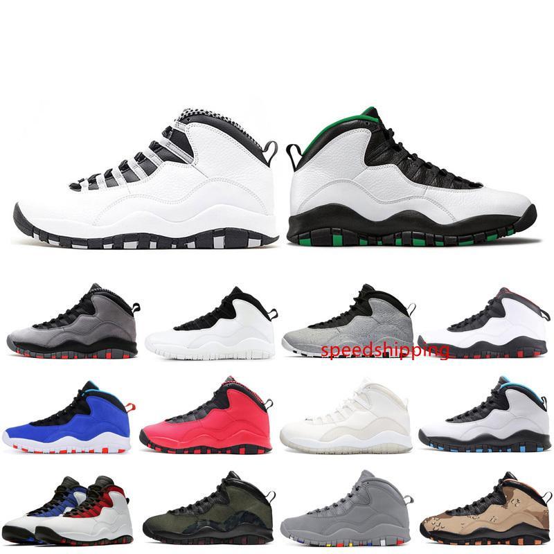10 10s zapatos para hombre de baloncesto Seattle Woodland Camo deportes diseñador Chicago Orlando Im volver Desierto Camo la zapatilla de deporte