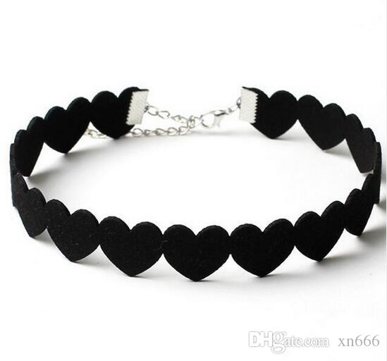 Fashion Black Velet Heart Design Leather Choker Necklace Sweet Love Neck Collar Jewelry Gift for Women Girl