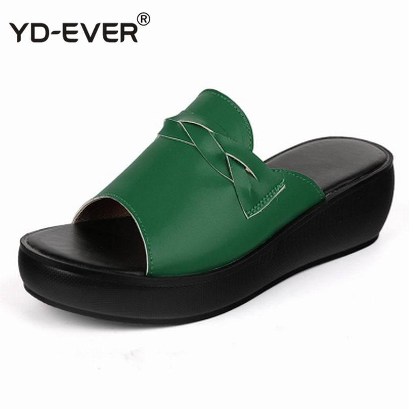 Women Slipper's 2020 Ladies Summer Shoes Non-slip Women Wedges Heels Fashion Summer Genuine Leather Shoes Platform